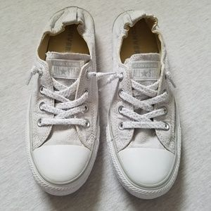 Converse slip on sneakers linen look gray 9.5